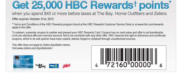 HBC Rewards points October 2012